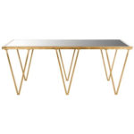 Architectural gold mirrored coffee table